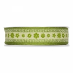 Geschenkband Druck Blüten<br/>Grün<br/>25 mm x 15 m
