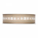 Geschenkband Druck Blüten<br/>Natur/Weiß<br/>25 mm x 15 m