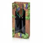"""2er Papiertragetasche <br/>""""Timber Wine"""" <br/>mit Fenster<br/>360 x 170 x 85 mm"""
