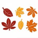 Filz-Sortiment<br/>Herbstblätter<br/>Gelb/Orange/Braun<br/>Ø ca. 8-11 cm<br/>6 Sets á 6 Stück