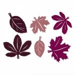 Filz-Sortiment<br/>Herbstblätter<br/>Altrosa/Beere<br/>Ø ca. 8-11 cm<br/>6 Sets á 6 Stück