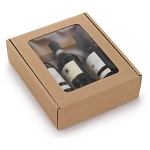 Flaschenkarton mit Sichtfenster<br/>295 x 335 x 90 mm<br/>geeignet für 3 Flaschen