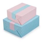 <b>Punkte himmelblau/rosa</b><br/>B 70 cm x L 50 m, 70 g/m²<br/>Rollen-Ø 9 cm<br/>Rollenkern-Ø 5 cm