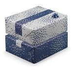 <b>Punkte dunkelblau/taupe</b><br/>B 70 cm x L 50 m, 70 g/m²<br/>Rollen-Ø 9 cm<br/>Rollenkern-Ø 5 cm