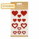 Filz-Sticker Herzen rot<br/>sortiert, 2,2 / 3,5 cm<br/>8 Karten á 12 Stück