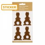 Filz-Sticker Hase braun<br/>4 x 6,5 cm<br/>6 Karten á 4 Stück