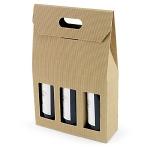 Flaschenverpackung<br/>270 x 90 x 410 mm<br/>geeignet für 3 Flaschen<br/>mit Sichtfenster