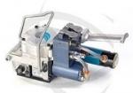 Kombi-Umreifungsgerät<br/><b>pneumatisch</b><br/>für <b>PP</b>- und <b>PET</b>-Band<br/>f. Bandbreite 10-13 mm<br/> u. Bandstärke 0,4-1,23 mm<br/>bis zu 2500 N Spannkraft<br/>mit Vibrationsverschluss