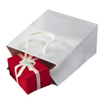 Lackpapier-Tragetasche<br/>120 x 70 x 160 mm<br/>weiß