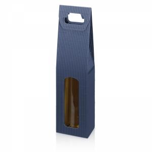 Tragekarton Modern Blau<br/>Offene Welle - mit Fenster