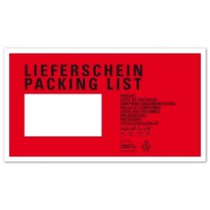 Rote Dokumententaschen Lieferschein mit Adress-Fenster