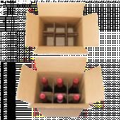 Flaschenkartons, braun - mit Gefache
