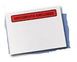 """Transparente Dokumententaschen """"Documents enclosed"""" im Schriftfeld"""