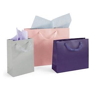 Lackpapier-Tragetaschen mit Organdi-Tragegriffen